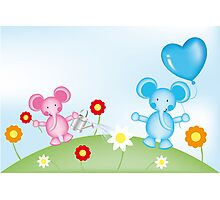 Happy elephants illustration for kids Photographic Print