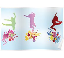 Colorful illustration of jumping kids and splashes Poster