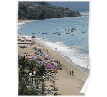 Beach scene - escena de la playa, Puerto Vallarta, Mexico Poster