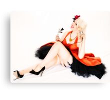 Pin-Up In Orange Dress I Canvas Print