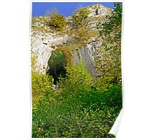 Climbing in the Natural Limestone Arch Poster