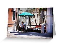 Enjoying the Rest - Venetian Gondolier Greeting Card