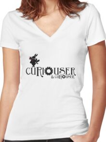Curiouser & Curiouser Alice in Wonderland Shirt Women's Fitted V-Neck T-Shirt