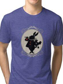 Alice in Wonderland White Rabbit Oval Portrait Tri-blend T-Shirt