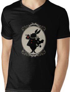 Alice in Wonderland White Rabbit Oval Portrait Mens V-Neck T-Shirt