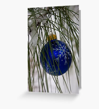 Blue Ornament in Snow Greeting Card