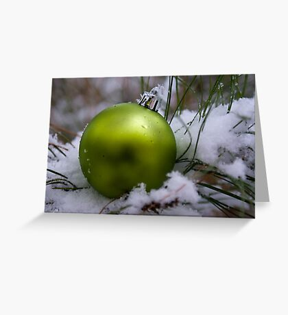 Green Ornament in Snow Greeting Card
