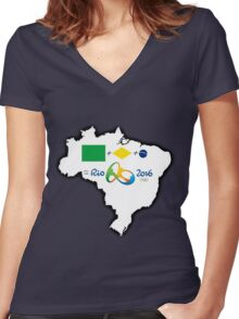Olympics in Rio 2016, here we are (map) Women's Fitted V-Neck T-Shirt