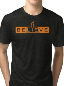 beLIEve orange Tri-blend T-Shirt