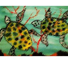 Adult Sea Turtles, watercolor Photographic Print