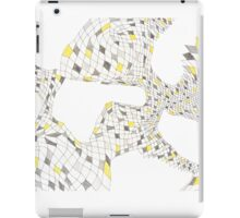Geometric landscape silver & yellow drawing iPad Case/Skin