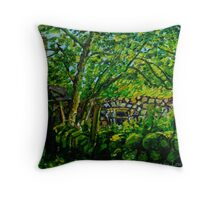 """Hidden from View, Ruined Cottage, near the River Braid, County Antrim"" Throw Pillow"