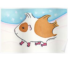 Guinea-pig With Stripy Socks in the Snow Poster