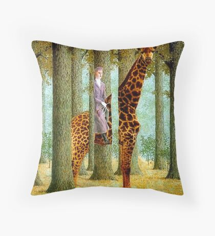Giraffe In Forest Throw Pillow