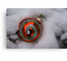 Red Ornament in Snow Canvas Print
