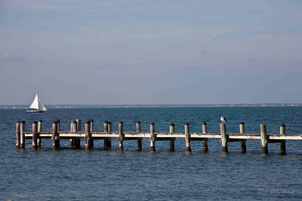Old Pier, Pilings and Boardwalk by phil decocco