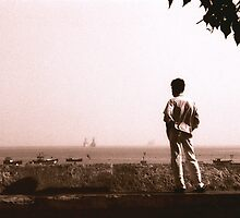 Watching the boats Mumbai by Giles Freeman