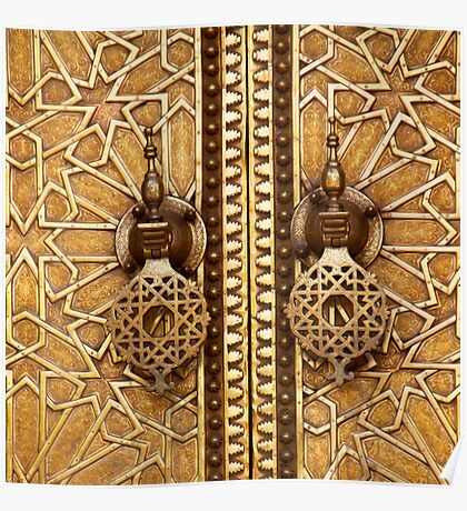 detail of a door at the royal palace in fez Poster