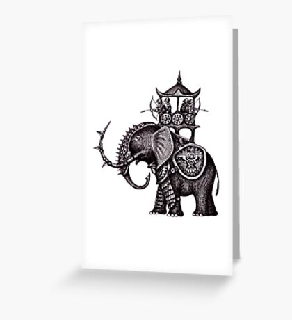 War Elephant black and white pen ink drawing Greeting Card