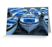Capri - Blue and white boats Greeting Card