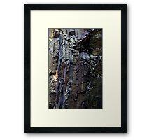 Vertical lines in rock face Framed Print