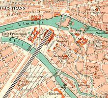 Zurich Vintage Map iPhone Case by Mary Grekos