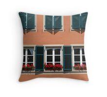Strasbourg - Three windows with geraniums Throw Pillow