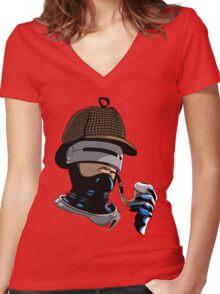 Robo Holmes (Full Color) Women's Fitted V-Neck T-Shirt
