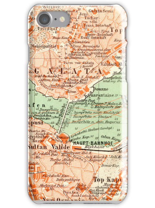 Istanbul Vintage Map iPhone Case by Mary Grekos