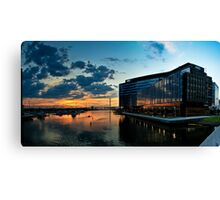 Sunset Rowing, Docklands. Canvas Print