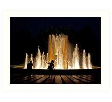 SHADOWS IN THE NIGHT PEOPLE LIGHT AND FOUNTAIN Art Print