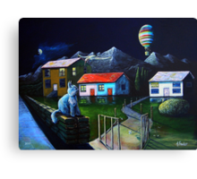 Blue Cat and Floating Gate Canvas Print