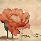 Peach Rose Birthday Card by Teresa Zieba