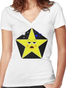 Tired Star Women's Fitted V-Neck T-Shirt