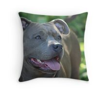 Blue pitbull Throw Pillow