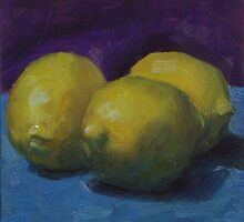 Lemons on Blue by Les Castellanos