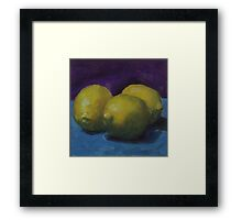 Lemons on Blue Framed Print