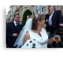 The Vicar, The Bride And A Relieved Groom Canvas Print