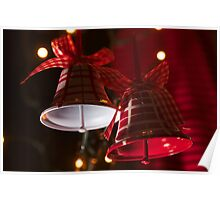 Christmas Bells in Red and White Poster