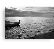 BOAT SEA SUNLIGHT AND HARBOR VINTAGE RETRO Canvas Print