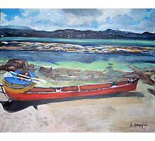 Canoe & Raft on Shell Island Photographic Print