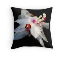 Christmas Cactus & Little Lady Bug Throw Pillow