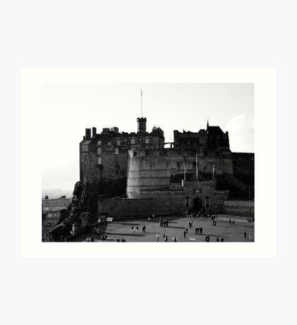 Edinburgh Castle black and white Art Print