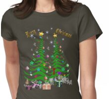 Artsy Christmas Tree and Decorations Womens Fitted T-Shirt
