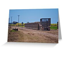 Truck collecting bins for cane train Greeting Card