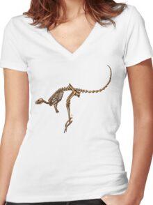 Kangaroo Skeleton Women's Fitted V-Neck T-Shirt