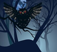 Owl in the Night Forest 3 by AnnArtshock