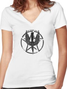 Supernatural Demon Hunting Crest Women's Fitted V-Neck T-Shirt