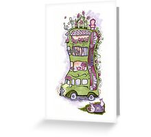 Permaculture House Bus with Vagabond possums Greeting Card