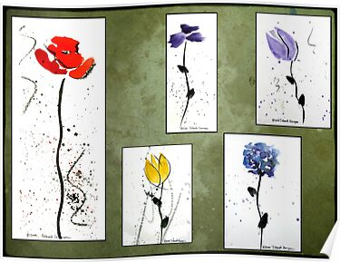 Collage of Watercolor Flowers in Plein Aire by deborah zaragoza